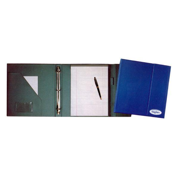 Tri-fold desk folder with binder rings