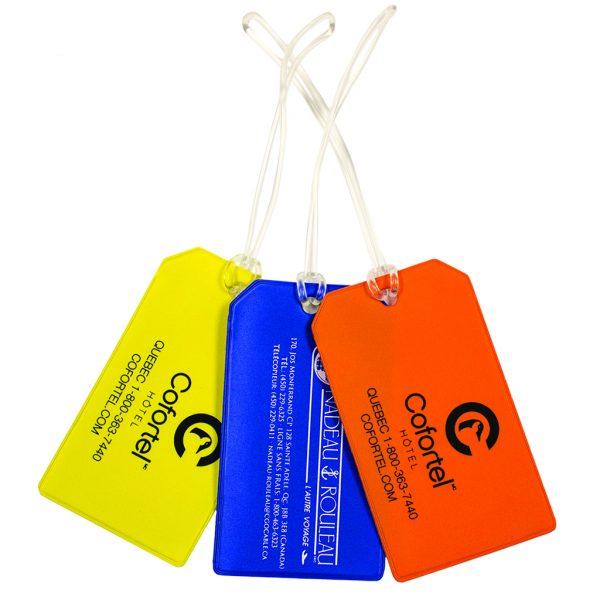 Luggage tag with plastic loop